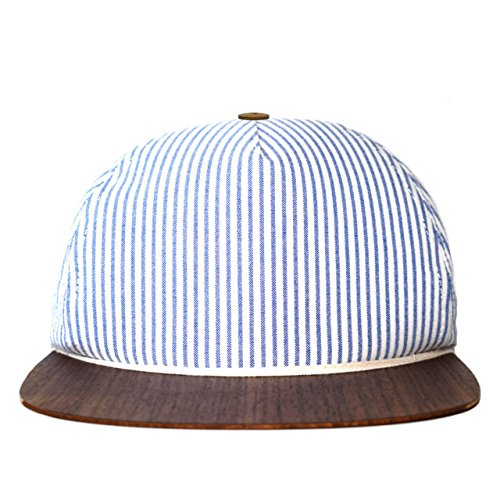 Baseall Cap blau-weiß gestreift mit edlem Holzschild - Made in Germany - Unisex - Sehr leicht & bequem - One size fits all | Lou-i Snapback Cap