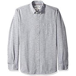 Marca Amazon - Goodthreads - Camisa de manga larga de corte estándar de cambray para hombre, diseño de lunares, Azul (Navy White Dot), US M (EU M)