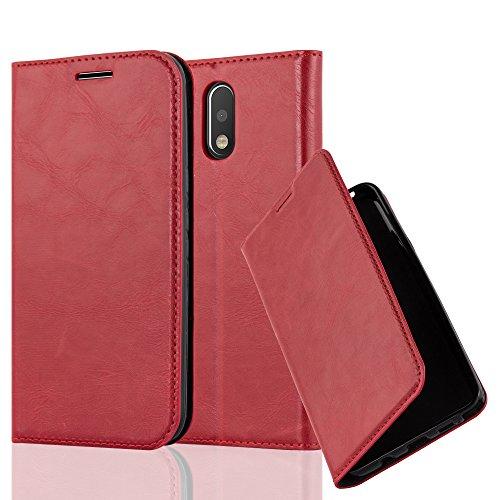 Preisvergleich Produktbild Cadorabo Hülle für Motorola Moto G4 / Moto G4 Plus - Hülle in Apfel ROT - Handyhülle mit Magnetverschluss,  Standfunktion und Kartenfach - Case Cover Schutzhülle Etui Tasche Book Klapp Style