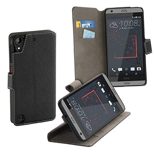 yayago Book Style Tasche Case für HTC Desire 530 / Desire 630 Hülle Klapphülle mit Standfunktion Schwarz