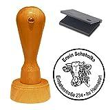 Stempel mit Kissen « KUH KUHBULLE » Adressenstempel Firmenstempel Bauer Bauernhof Milchbauer