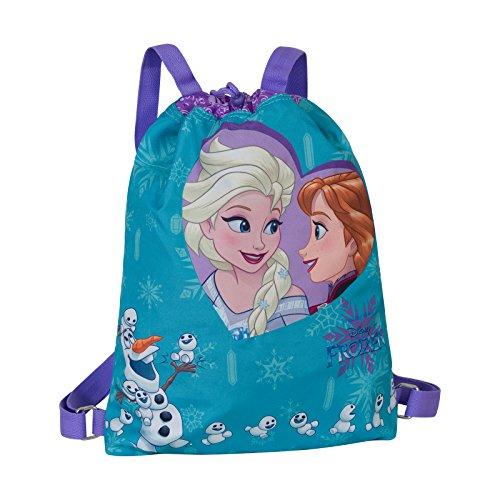 Disney frozen magico cuore - sacca con spallacci regolabili e cordoncino- colore celeste