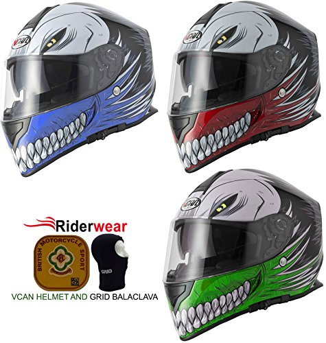 V-CAN VCAN V127 Hollow Skull Casco Moto Crash Track Quick Sport Full Face ACU Blu e Passamontagna