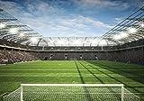 FORWALL Fototapete Tapete Stadion P4 (254cm. x 184cm.) Photo Wallpaper Mural AMF11798P4 Gratis Wandaufkleber Stadion Sport Fußball Ball Kind Junge Spiel Rasen