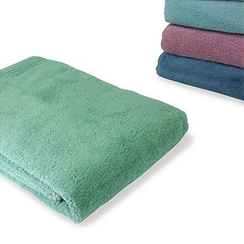 rtuch, 2 Stück Handtuch ca. 50x100cm in mint - grün, mit aufwendiger Chenille-Bordüre, OekoTex Standard 100, aus 100% Baumwolle, Frottee (Mint Grün Rosen)