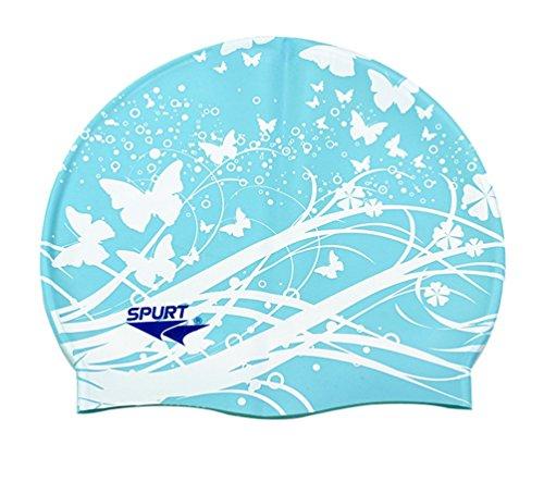 Moolecole Mode Damen Wasserdicht Silikon Badekappen Weiche Schwimmen/Baden/Schlaf Kappe Schwimmkappe Haarpflege Swim Cap Blau Schmetterling