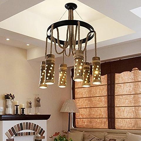 ZSQ retrò pendente corda luce L spago luce pendente lampadario e personalità Creative Bar Caffetterie Ristoranti faretto a LED da incasso lampadario #101 - Mason Spago