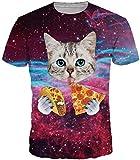 EmilyLe Hombre 3D Graphic Print Camisetas Moda Manga Corta Tees Round Neck Top Camisa EU M(Etiqueta L),Gato y Pizza