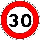 Panneau de limitation de vitesse à 30 km/h - Autocollant vinyl waterproof - Diamètre de 200 mm