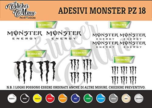 Generico Monster Energy Adesivi Stickers Moto Motorbike Casco (Nero)