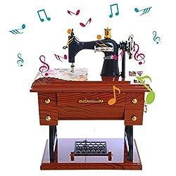 Aimik Vintage Music Box Mini Sewing Machine Style Mechanical Birthday Gift Table Decor