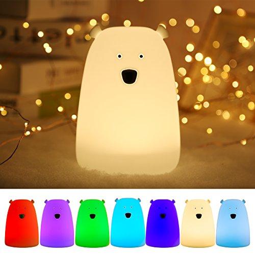 B-right dimmbare LED Nachtlicht, Silikon Bär Nachtlicht mit 7 Helligkeitsstufen , Stimmung Lampe, Schlummerleuchten mit Touch Schalter für Babys Zimmer, Schlafzimmer, Kinderzimmer, Wohnräume