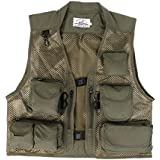 Segolike Army Green Outdoor Fly Camo Fishing Vest - Breathable Active Wear Jacket for Fishing Photography Sports Hiking Cycling Hunting - Lightweight Mesh Fabric Jacket