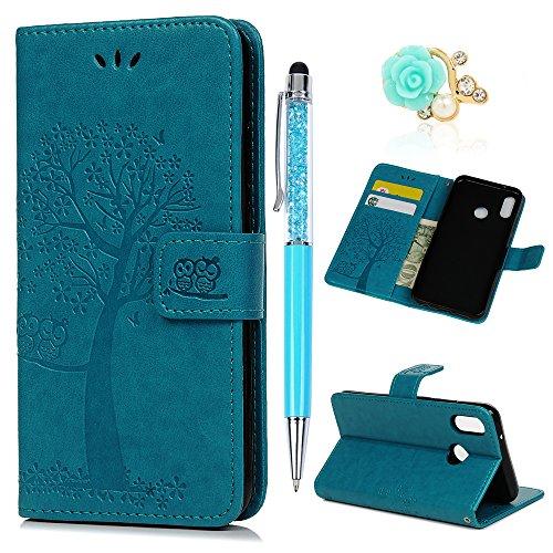 Coque Huawei P20 Lite, Badalink Housse Étui Coque de Protection en PU Cuir Silicone Relief Souple Anti-Scratch Cas de Téléphone Housse Fermeture Magnétique Support Portefeuille Carte Slots - Bleu
