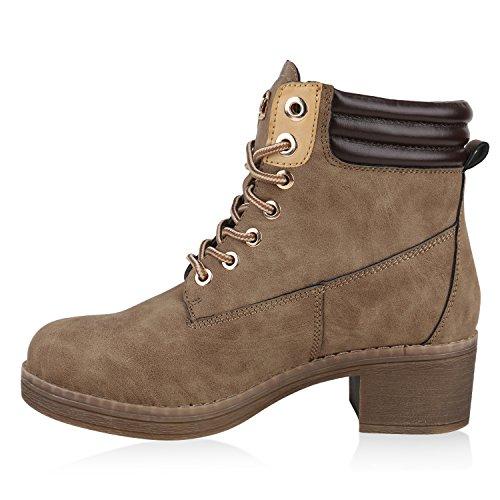 Damen Leicht Gefütterte Outdoor Schnürstiefeletten Worker Boots Khaki