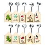 LIOOBO 10 Pezzi di Natale Houselet Design portafoto Stampato in Legno Carta titolari di Carta Clip per la Decorazione Domestica del Partito da Tavolo Decorazione Natalizia