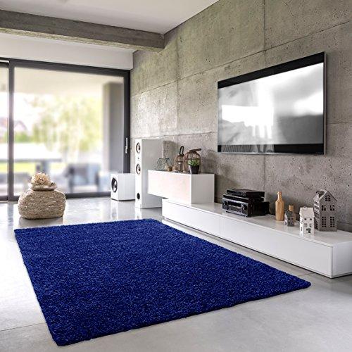 Shaggy-Teppich | Flauschiger Hochflor fürs Wohnzimmer, Schlafzimmer oder Kinderzimmer | einfarbig, schadstoffgeprüft, allergikergeeignet in Farbe: Blau; Größe: 40 x 60 cm