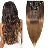 Clip in Extensions Echthaar Ombre Remy Haarverlängerung für komplette Haare 8 Tressen Doppelt Dicke 55cm-160g(#2T6 Dunkelbraun/Hellbraun)