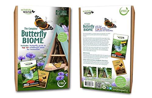 Schmetterlingshaus und Beutel mit Schmetterlingsfutter
