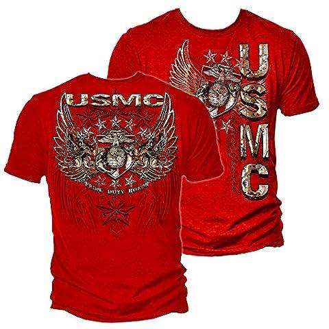 Erazor Bits 100% Baumwolle USMC Pride Duty Honor Sterne T-Shirt,