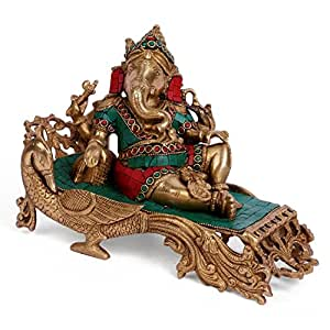 Collectible India Hindu Lord Sitting Ganesha Statue Brass Idol Resting Ganpati Figurine Home Decor
