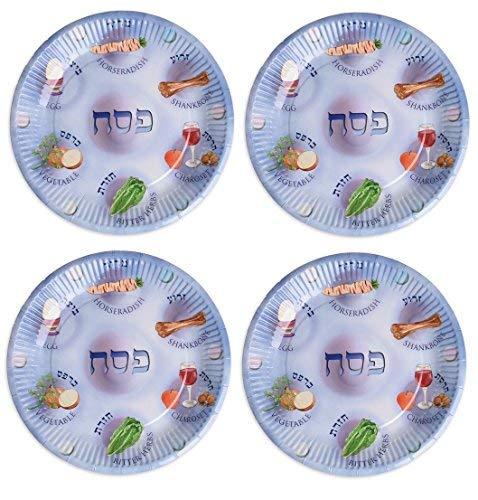 Assiettes en Papier pour Passation, Papier Seder Plaques, Pessa 'H Plaques pour les Enfants - 48 pack
