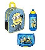 Familando Minions 3tlg. Set Rucksack mit Brotdose und Trinkflasche z.B. für Den Kindergarten MNOH7602