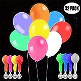 TECHSHARE LED Luftballons Party, Leuchten Ballons 32 Stück Mischfarbe für Geburtstag Hochzeit Hauptdekorationen Festival Weihnachten (8 Color)