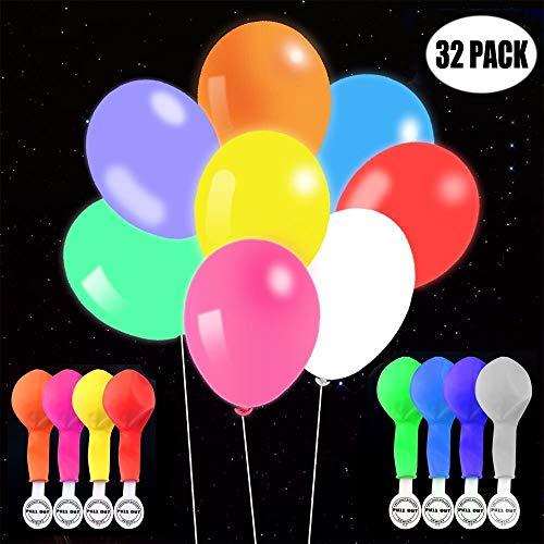 llons Party, Leuchten Ballons 32 Stück Mischfarbe für Geburtstag Hochzeit Hauptdekorationen Festival Weihnachten (8 Color) ()