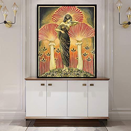 yhyxll Soma Göttin Poster Print heidnischen Mythologie Wall Art Nouveau psychedelischen Pilz böhmischen Leinwand Gemälde Bild 60X80cm