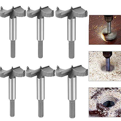 Aolex 6 Teilig Forstnerbohrer Set Oberfräser Fräsköpfe Topfbohrer mit Zentrierspitze für Hartholz Kunststoff (30-60mm)