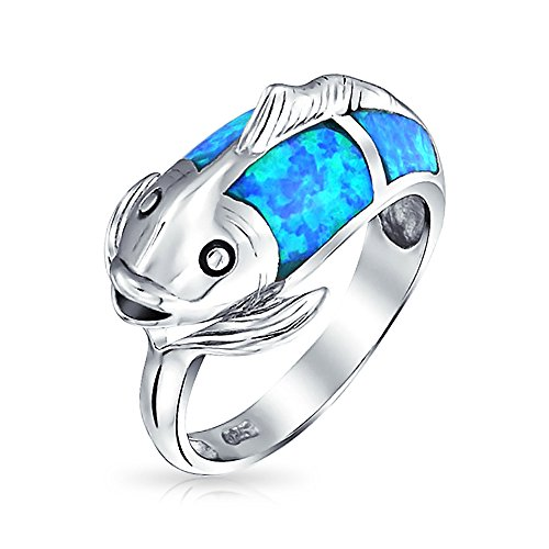 Bling Jewelry 925 Sterling Silver Blue Opal Inlay marittimo Koi Fish anello