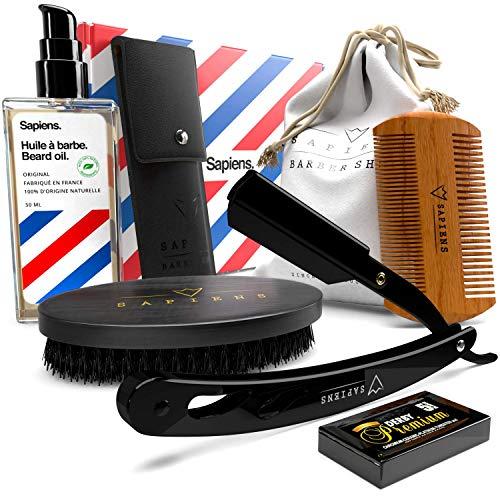 Scopri offerta per Kit Barba Uomo DELUXE di Sapiens: Olio di Barba made In Francia 50ml 100% Naturale + Rasoio Barbiere Professionale + 5 Accessori per la manutenzione e la rasatura - Idea Regalo Uomo Originale