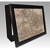 Molduras y cuadros Garcia - Cubrecontador lamina flores contornos marrones y moldura nogal - Madera - Color - Nogal - Tamaño - 43X33X4