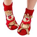 Coxeer Noël chaussettes animale chaussettes domestique Chaussettes polaire Noël Santa Noël femme, Rouge, Adulte Taille Unique