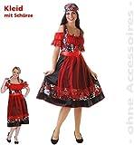 Dirndl'Rosinda', 1-tlg. Kleid mit Schürze, rot-schwarz mit Totenköpfen, Damenkostüm, für Erwachsene