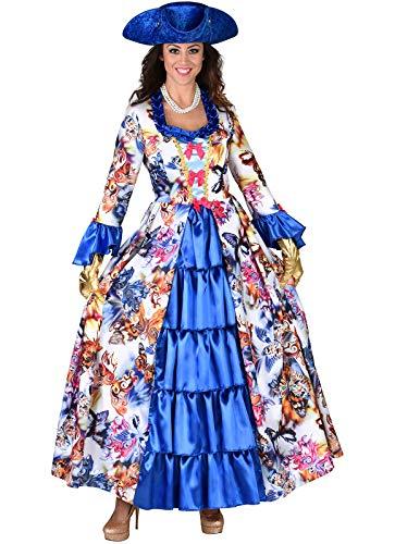 narrenkiste M219144-XXL bunt-blau Butterfly Damen Rokoko Kleid Kostüm Marquisin Prinzessin - Rokoko Kleid Kostüm