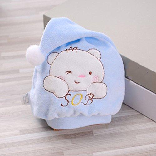 bonytain 3Stil Baby Cotton Soft Cap Beanie Kopfbedeckung 0–1y Neugeborene Jungen Mädchen Kinder kawaii Hüte Toddler Infant blau