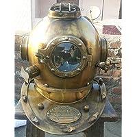 NAUTICALMART - Casco da sommozzatore U.S Mark V in acciaio solido, originale, antico, 45,7 cm, colore: