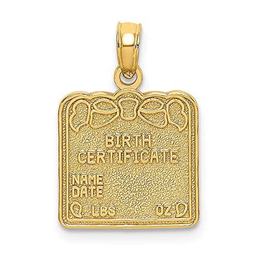 Charm-Anhänger 14 Karat Gelbgold Geburtsurkunde -