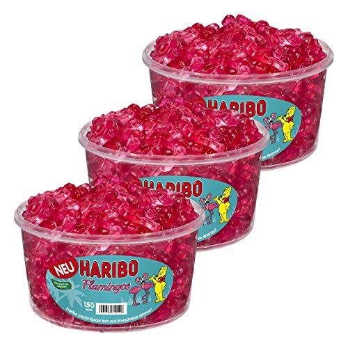 Haribo Flamingos, 3er Set, Gummibärchen, Weingummi, Fruchtgummi, Pinke Süßigkeit