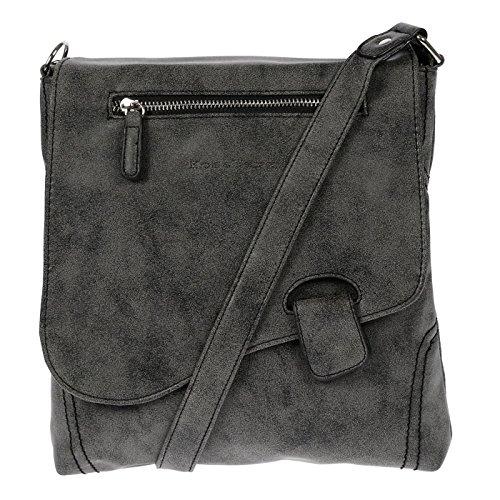 Kossberg Handtasche Schultertasche Umhängetasche Used Optik Riegel (schwarz/grau)