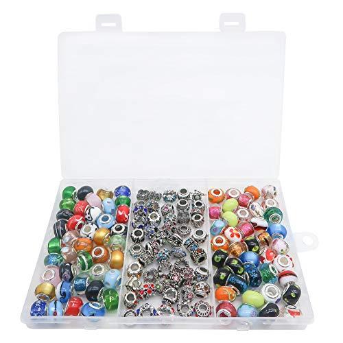 TOAOB 120pcs Großes Loch European Perlen Antik Silber Assorted Crystal Strass Stil Charm für Schmuckherstellung Armbänder Halsketten
