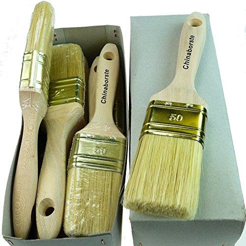 Preisvergleich Produktbild ROTIX-9192 6 x Flachpinsel Lackier-Pinsel 12. Stärke Profi-Qualität 6er-Pack (50 mm)