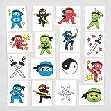 """Baker Ross Tattoo-Abziehbilder """"Ninjas"""" für Kinder – perfekt ALS Kleine Partyüberraschung für Kinder (24 Stück)"""