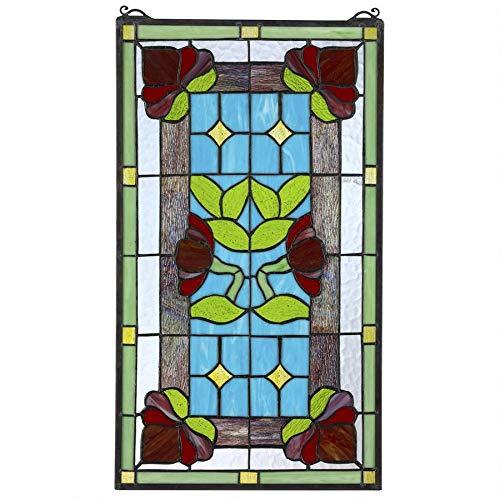 Design Toscano Fensterbild im Tiffany-Stil, Buntglas, Rot