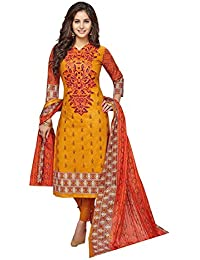Baalar Women's Cotton Unstitched Dress Material (2018_Yellow_Free Size By Onkar Trading)