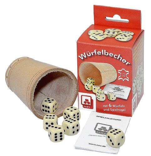 NSV - 8004 - WÜRFELBECHER mit 6 Würfeln und Anleitung in der Faltschachtel, leder - Würfelspiel - Spielkarten Großhandel