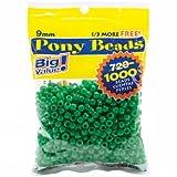 Darice 06121-2-08 Pony Bead Big Value Pack 9mm 1000/Pkg-Opaque Green