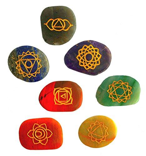 7 Chakra Steine | mit den 7 Chakren eingraviert | Handgravur Energiestein Therapie mit Anleitung -